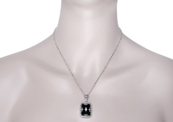 Art Deco Fleur de Lis Filigree Black Onyx and Diamond Pendant Necklace in Sterling Silver - Item: N137 - Image: 2