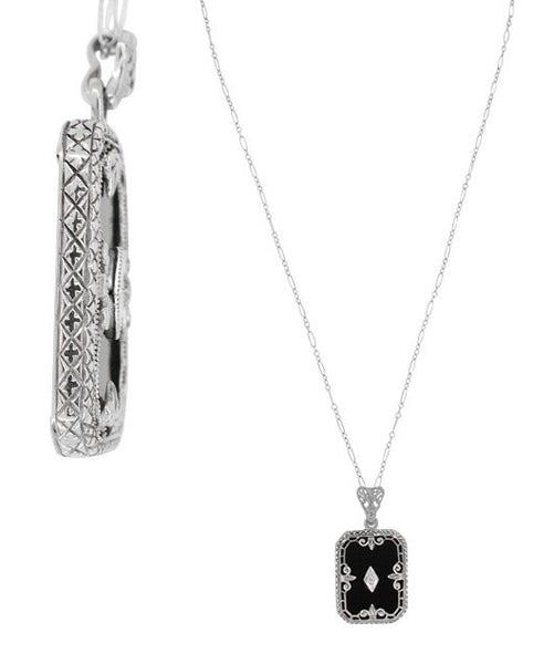 Art Deco Fleur de Lis Filigree Black Onyx and Diamond Pendant Necklace in Sterling Silver - Item: N137 - Image: 1