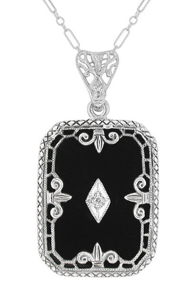 Art Deco Fleur de Lis Filigree Black Onyx and Diamond Pendant Necklace in Sterling Silver