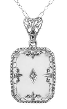 Art Deco Filigree Fleur de Lis Camphor Crystal and Diamond Pendant Necklace in Sterling Silver