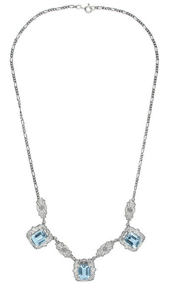 Art Deco Filigree Blue Topaz 3 Drop Necklace in Sterling Silver - Item: N140 - Image: 1
