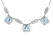Art Deco Filigree Blue Topaz 3 Drop Necklace in Sterling Silver