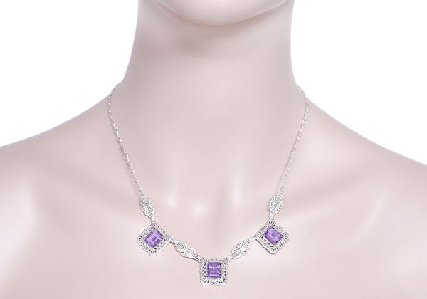 Art Deco Filigree Amethyst 3 Drop Necklace in Sterling Silver - Item: N140AM - Image: 2
