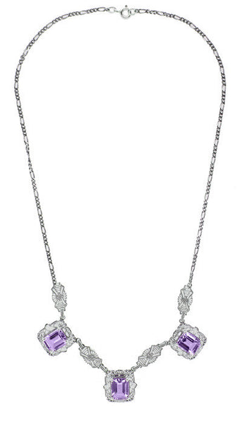 Art Deco Filigree Amethyst 3 Drop Necklace in Sterling Silver - Item: N140AM - Image: 1
