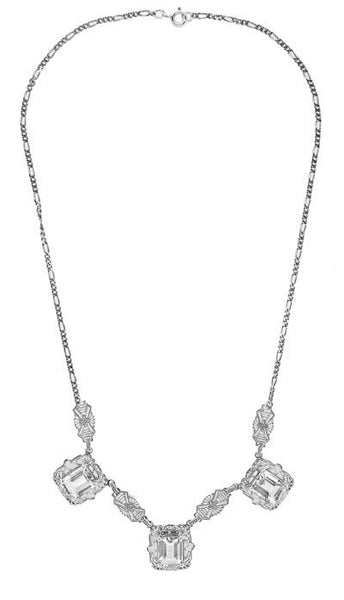 Art Deco Filigree White Topaz 3 Drop Necklace in Sterling Silver - Item: N140WT - Image: 1