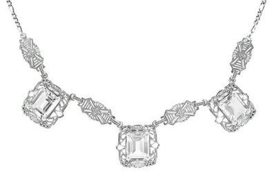 Art Deco Filigree White Topaz 3 Drop Necklace in Sterling Silver