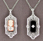Art Deco Filigree Flip Pendant Necklace in Sterling Silver with Lady Cameo Onyx and Diamonds