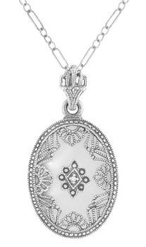 Art Deco Filigree Camphor Crystal and Diamond Oval Pendant Necklace in Sterling Silver