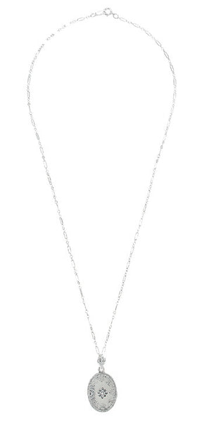Art Deco Filigree Crystal and Diamond Set Oval Pendant Necklace in 14 Karat White Gold - Item: N142WG - Image: 2