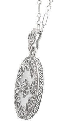 Art Deco Filigree Crystal and Diamond Set Oval Pendant Necklace in 14 Karat White Gold - Item: N142WG - Image: 1