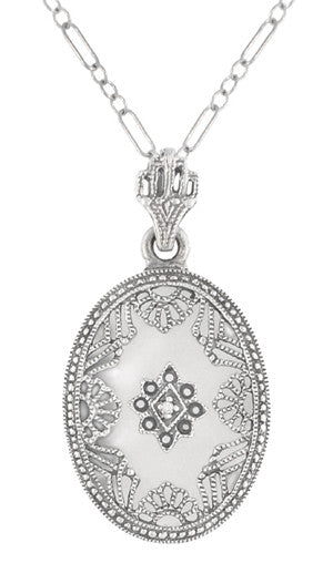 Art Deco Filigree Crystal and Diamond Set Oval Pendant Necklace in 14 Karat White Gold