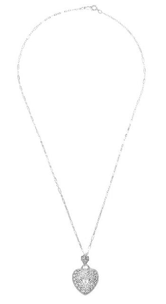 Heart of Love Art Deco Filigree Diamond Pendant Necklace in Sterling Silver - Item: N143 - Image: 1