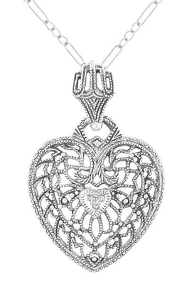 Heart of Love Art Deco Filigree Diamond Pendant Necklace in Sterling Silver