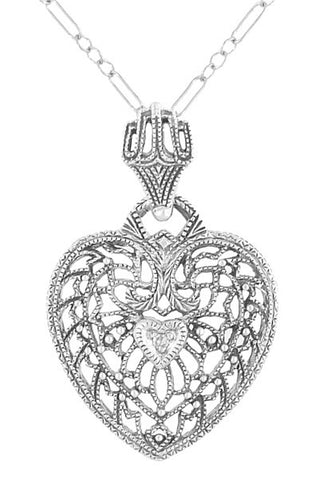 Vintage wedding necklaces bridal necklaces antique jewelry mall heart of love art deco filigree diamond pendant necklace in sterling silver junglespirit Gallery