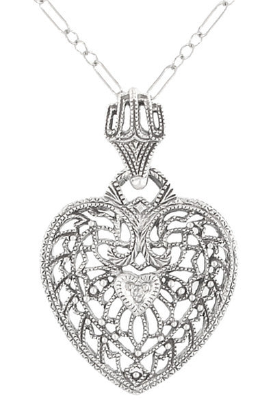 Heart of Love Art Deco Filigree Diamond Pendant Necklace in 14 Karat White Gold