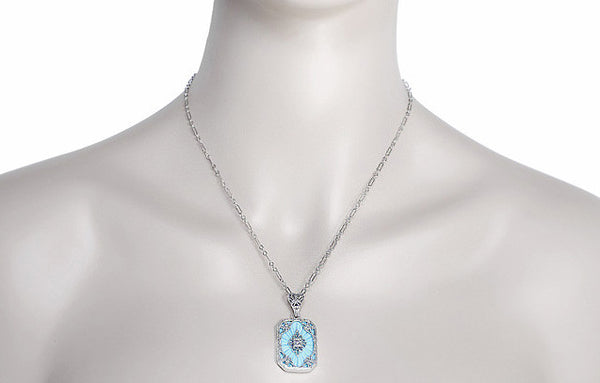 Art Deco Filigree Scrolls Starburst Diamond Set Pendant Necklace in Sterling Silver - Item: N144 - Image: 2