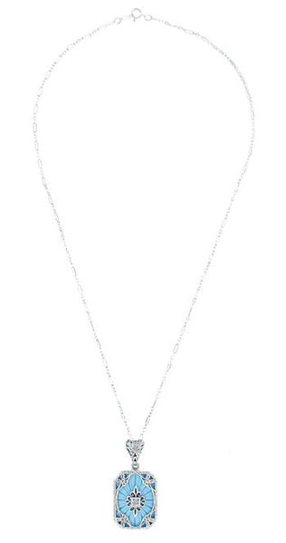 Art Deco Filigree Scrolls Starburst Diamond Set Pendant Necklace in Sterling Silver - Item: N144 - Image: 1