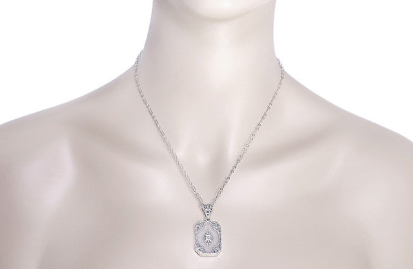 Art Deco Filigree Scrolls Starburst Crystal and Diamond Pendant Necklace in Sterling Silver - Item: N144CR - Image: 3