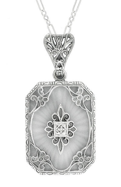 Art Deco Filigree Scrolls Starburst Crystal and Diamond Pendant Necklace in 14 Karat White Gold