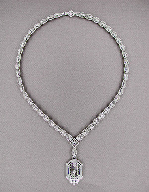 Art Deco Filigree Drop Pendant Necklace Set with Sapphire and Diamonds in 14 Karat White Gold - Item: N145 - Image: 1