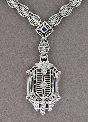 Art Deco Filigree Drop Pendant Necklace Set with Sapphire and Diamonds in 14 Karat White Gold