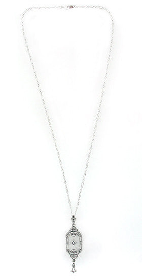 Art Deco Starburst Crystal & Diamond Drop Pendant Necklace in Sterling Silver - Item: N146 - Image: 1