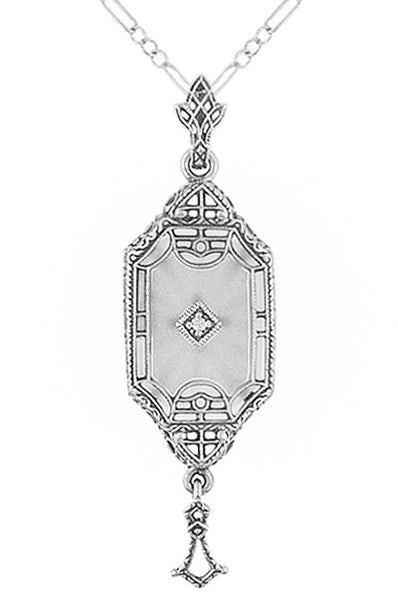 Art Deco Starburst Crystal & Diamond Drop Pendant Necklace in Sterling Silver