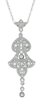 Edwardian Pearl Lavalier Drop Pendant Necklace in 14 Karat White Gold