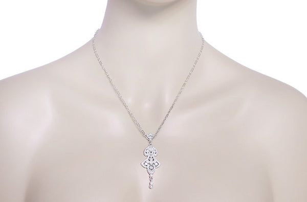 Edwardian Pearl Lavalier Drop Pendant Necklace in Sterling Silver - Item: N147SS - Image: 2