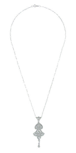 Edwardian Pearl Lavalier Drop Pendant Necklace in Sterling Silver - Item: N147SS - Image: 1