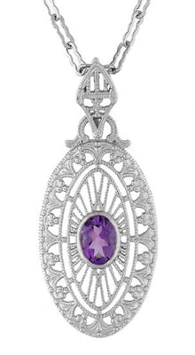 Art Deco Amethyst Filigree Oval Pendant Necklace in Sterling Silver