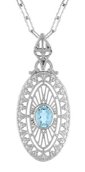Art Deco Blue Topaz Filigree Oval Pendant Necklace in Sterling Silver