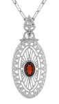 Art Deco Almandite Garnet Filigree Oval Pendant Necklace in Sterling Silver