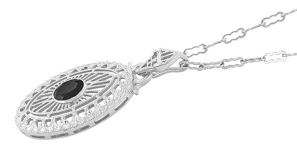 Art Deco Black Onyx Filigree Oval Pendant Necklace in Sterling Silver - Item: N148on - Image: 1