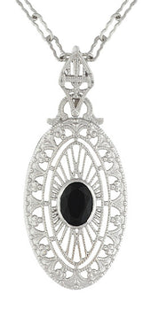Art Deco Black Onyx Filigree Oval Pendant Necklace in Sterling Silver