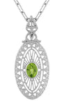 Art Deco Peridot Filigree Oval Pendant Necklace in Sterling Silver
