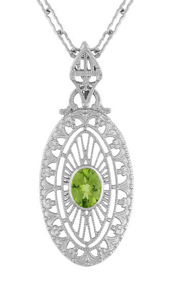 Art Deco Peridot Filigree Oval Pendant Necklace In