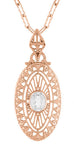 Art Deco Oval White Topaz Filigree Rose Gold Vermeil Pendant Necklace in Sterling Silver