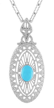 Art Deco Turquoise Filigree Oval Pendant Necklace in Sterling Silver