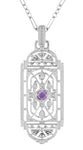 Art Deco Filigree Amethyst Geometric Pendant Necklace in Sterling Silver