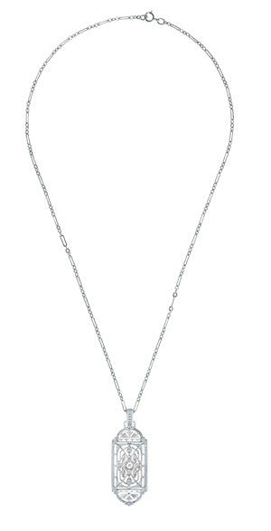 Art Deco Filigree Geometric Diamond Pendant Necklace in Sterling Silver - Item: N150DIA - Image: 2
