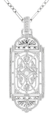 Art Deco Filigree Geometric Diamond Pendant Necklace in Sterling Silver
