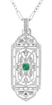 Art Deco Filigree Emerald Geometric Pendant Necklace in Sterling Silver