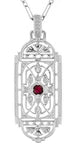 Art Deco Filigree Ruby Geometric Pendant Necklace in Sterling Silver