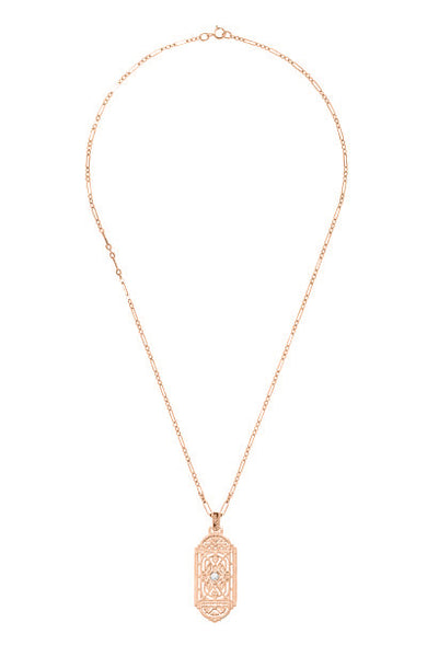 Art Deco Filigree Rose Gold Vermeil Geometric White Sapphire Pendant Necklace in Sterling Silver - Item: N150RWS - Image: 2