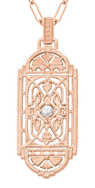 Art Deco Filigree Rose Gold Vermeil Geometric White Sapphire Pendant Necklace in Sterling Silver