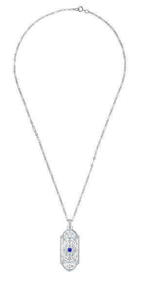 Art Deco Filigree Sapphire Geometric Pendant Necklace in Sterling Silver - Item: N150S - Image: 2