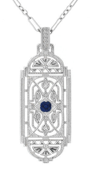 Art Deco Filigree Sapphire Geometric Pendant Necklace in Sterling Silver