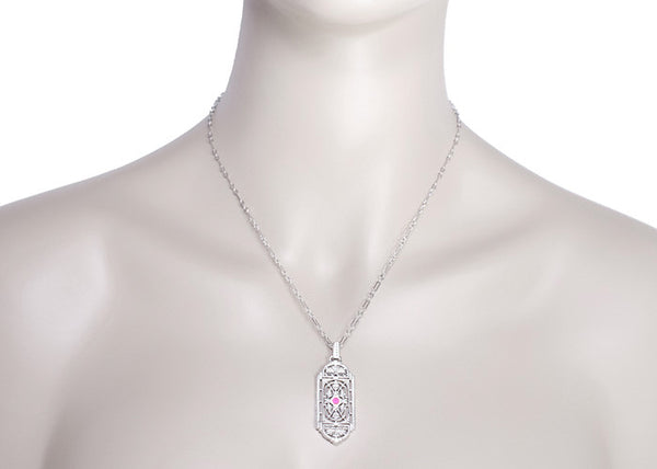 1920's Pink Sapphire Pendant in Sterling Silver - Vintage Style Art Deco Filigree Necklace - Item: N150WPS - Image: 3
