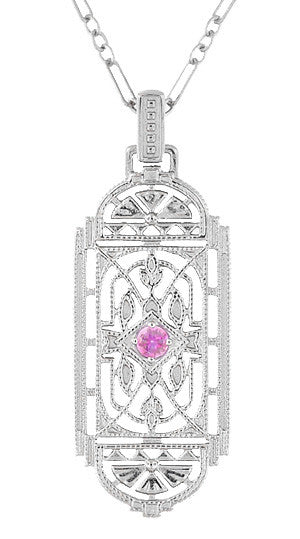 1920's Pink Sapphire Pendant in Sterling Silver - Vintage Style Art Deco Filigree Necklace